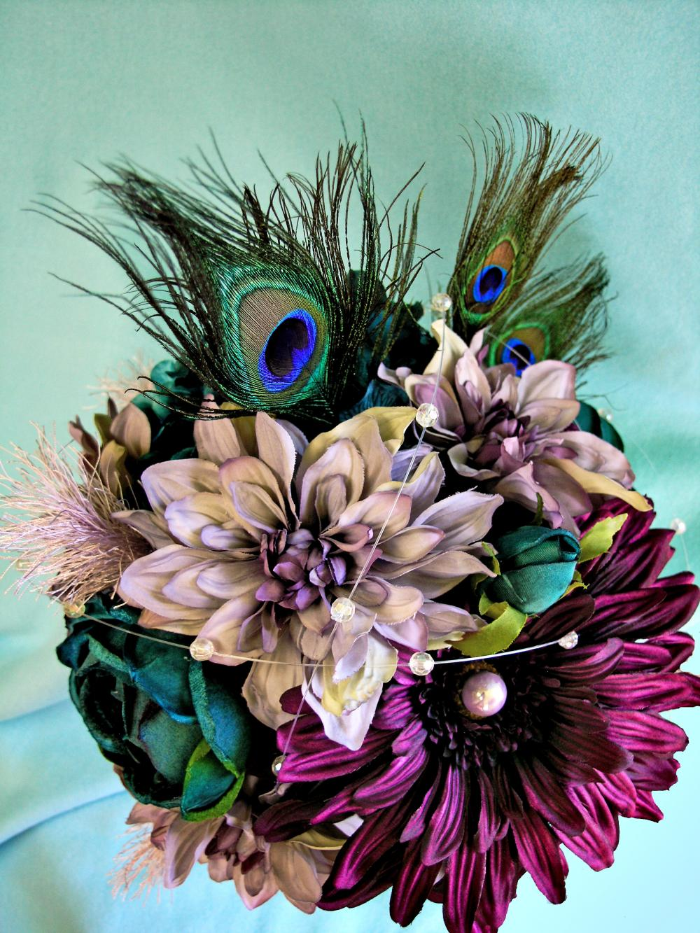 Peacock Wedding Flowers, Purple Silk Bridal Bouquet Teal